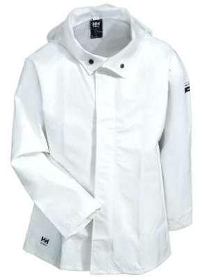 white rain gear